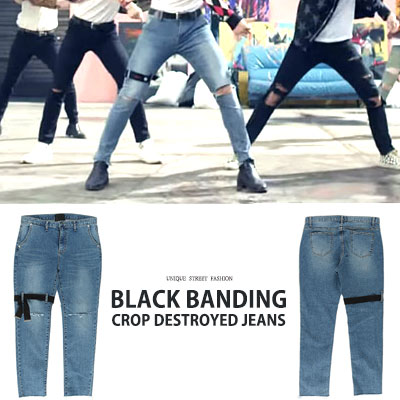 BTS Jungkook st. BLACK BANDING CROP DESTROYED JEANS(3size)