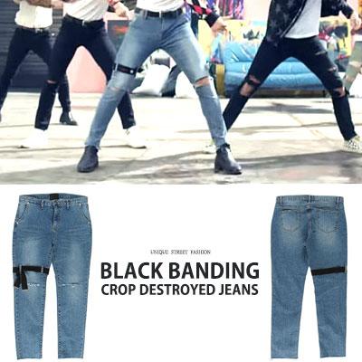 BTS Jungkook st. BLACK BANDING CROP DESTROYED JEANS(3size)