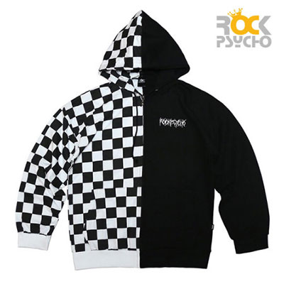 【ROCK PSYCHO】CHECKER HALF&HALF ZIP UP HOODIE