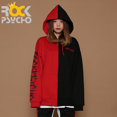 【ROCK PSYCHO】OVERSIZED HALF&HALF ZIP UP HOODIE