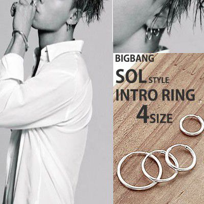 (10,12,14,16mm)BIGBANG SOL STYLE!Surgical steel material simple   silver ring earrings (pair)