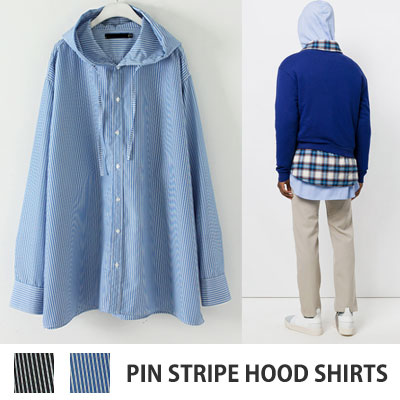 [UNISEX] OVERSIZE PIN STRIPE HOOD SHIRTS(2color)