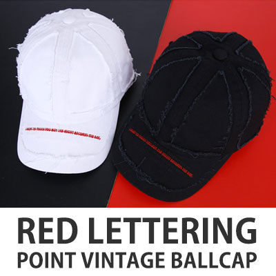 [UNISEX] RED LETTERING POINT VINTAGE BALL CAP(2color)