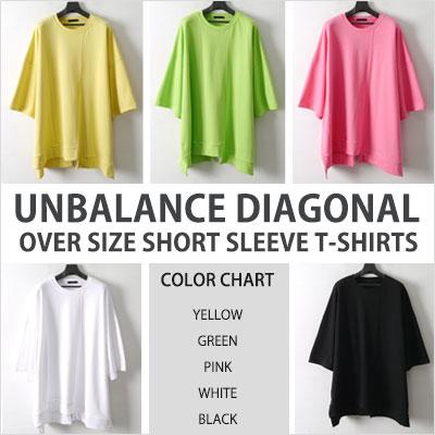 [UNISEX] UNBALANCE DIAGONAL OVER SIZE SHORT SLEEVE T-SHIRTS(5color)