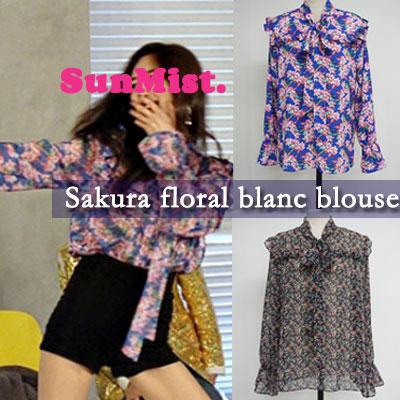 Sunmi st. SAKURA FLORAL BLANC BLOUSE(2color)