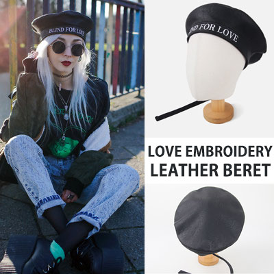 [UNISEX] LOVE EMBROIDERY LEATHER BERET