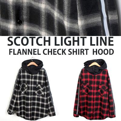 [UNISEX] SCOTCH LIGHT LINE FLANNEL CHECK SHIRTS HOOD(2color)