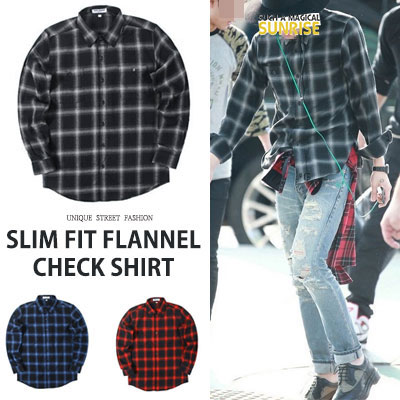 [UNISEX] BIGBANG/GD/GDRAGON st. SLIM FIT FLANNEL CHECK SHIRTS(3color)