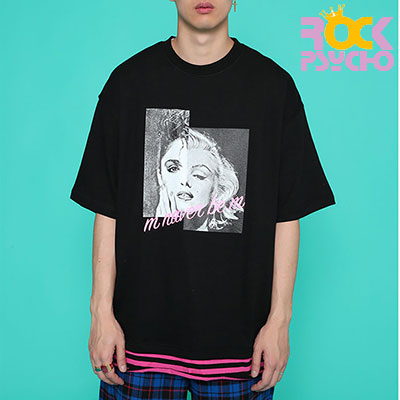 【ROCK PSYCHO】MM OVERSIZED SHORT SLEEVE T-SHIRT -BLACK