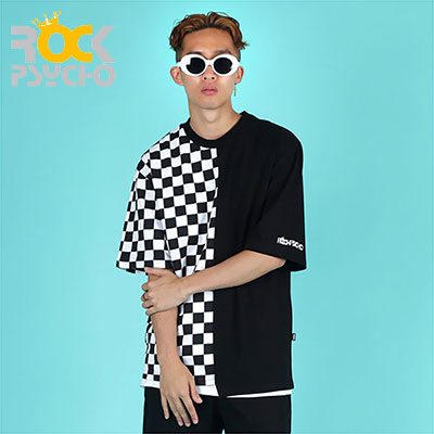 【ROCK PSYCHO】UNBALANCE CHECKERBOARD SHORT SLEEVE T-SHIRT(L,XL)
