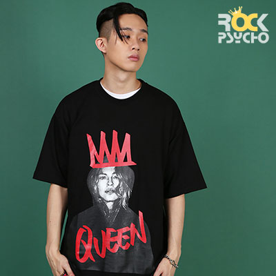 【ROCK PSYCHO】QUEEN PRINT SHORT SLEEVE T-SHIRT - BLACK