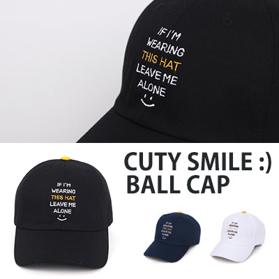 [UNISEX] SMILE LOGO EMBROIDERY BALL CAP(3color)