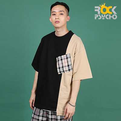 【ROCK PSYCHO】Unbalanced London Pocket Short Sleeve T-Shirt -BEIGE