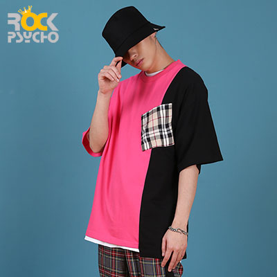 【ROCK PSYCHO】Unbalanced London Pocket Short Sleeve T-Shirt -PINK