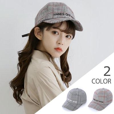[UNISEX] EMBROIDERY LOGO GLEN CHECK BALL CAP(2color)