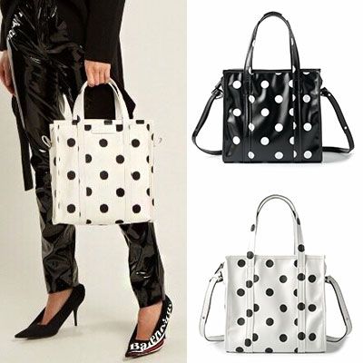 DOT SQUARE BAG SHOPPER BAG/TOTE BAG/SHOULDER BAG(2color)