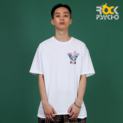 【ROCK PSYCHO】Flamingo print short sleeve T-Shirt  -WHITE