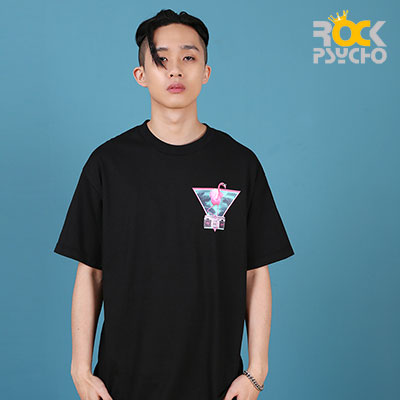 【ROCK PSYCHO】Flamingo print short sleeve T-Shirt  -BLACK
