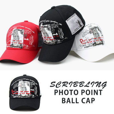 [UNISEX] SCRIBBLING/PHOTO POINT BALL CAP(3color)