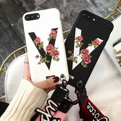 V LOGO FLOWER PRINT STRAP CASE(2color)