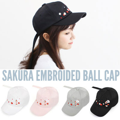 SKULL AND SAKURA EMBROIDED BALL CAP