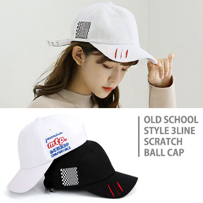 [UNISEX] OLD SCHOOL STYLE 3LINE SCRATCH BALL CAP(2color)