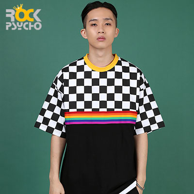 【ROCK PSYCHO】Checker rainbow short sleeve T-Shirt