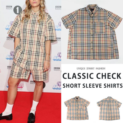 [BEIGE COLOR][UNISEX] CLASSIC CHECK SHORT SLEEVE SHIRTS