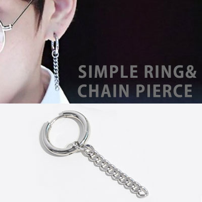 [1ea] BTS/st. SIMPLE RING CHAIN PIERCE(3type)