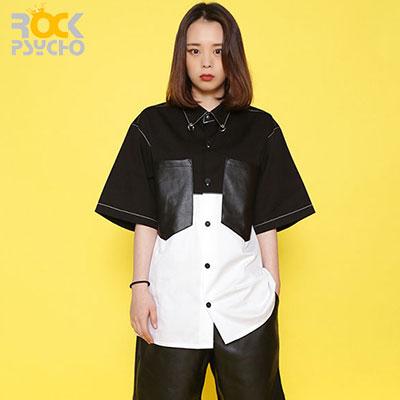 【ROCK PSYCHO】Leather pocket short sleeve shirt(M/L)