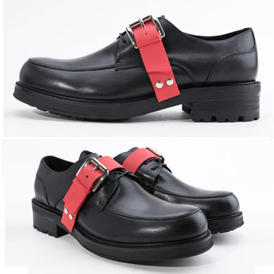 [25.5 ~ 27.5cm] RED STRAP POINT BLACK LEATHER LOAFER