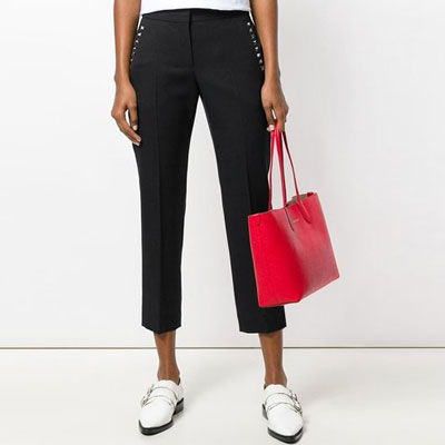 [FEMININE] STUD POINT BLACK CROPPED PANTS(3size)