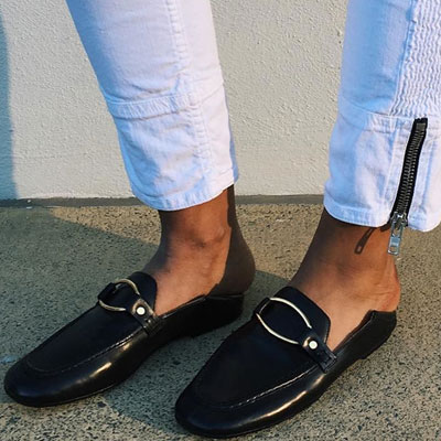 [Unisex][23.0cm ~ 28.0cm]ROUND GOLD BUCKLE MULE LOAFER