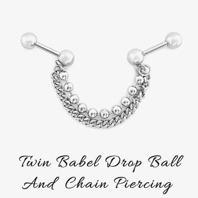 [1ea] TWIN BARBEL DROP BALL CHAIN PIERCING