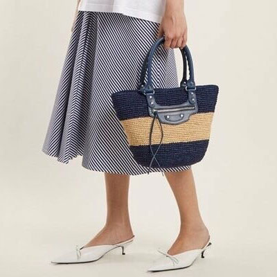 [S-SIZE]RATAN TWO LINE TOTE BAG(2color)