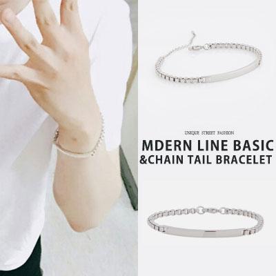 BTS SUGA STYLE! MODERN LINE BASIC CHAIN TAIL BRACELET(2type)