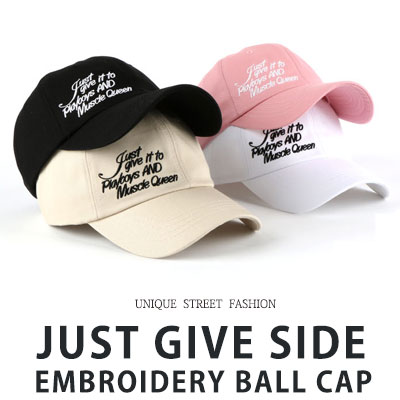 [UNISEX] JUST GIVE SIDE EMBROIDERY BALL CAP(4color)