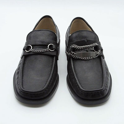 [Unisex][23.0 ~ 28.0cm] BLACK CHAIN LOAFER