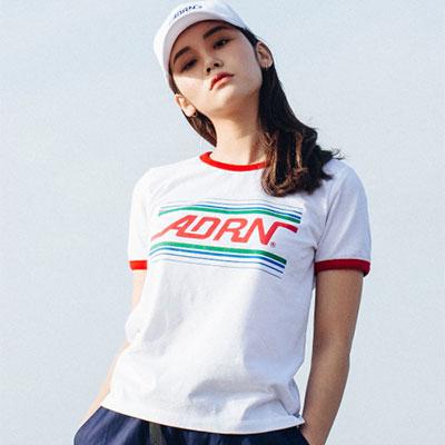 【2XADRENALINE】ADRN LINE RINGER T-Shirt (WOMEN/WHITE)