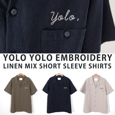 [UNISEX] YOLO YOLO EMBROIDERY LINEN MIX SHORT SLEEVE SHIRTS(3color)