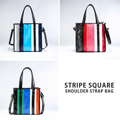 [M-size] STRIPE SQUARE SHOULDER STRAP BAG(3color)