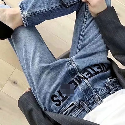 [UNISEX] FRONT LETTERING PATCH BLUE JEANS(4size)
