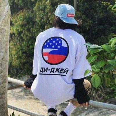 [UNISEX] AMERICA FLAG CIRCLE PRINT SHORT SLEEVE T-SHRITS(2color)
