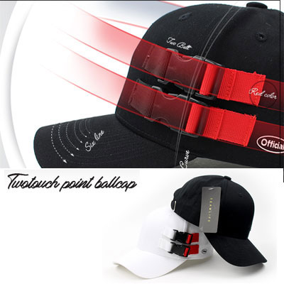 [UNISEX] 2 BUCKLE POINT BALL CAP(2color)