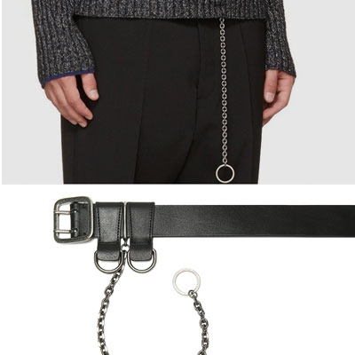 [UNISEX] TAIL RING/CHAIN LEATHER BELT(2size)