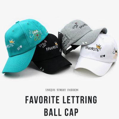 [UNISEX] FAVORITE LETTERING BALL CAP(4color)