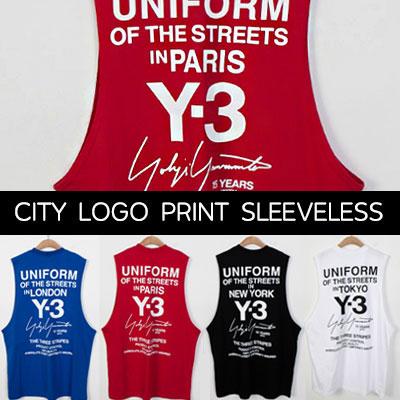 [UNISEX] CITY LOGO BACK PRINT SLEEVELESS TSHIRTS(4color)