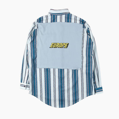 [UNISEX] EUROPE LOGO BACK FLAG POINT BLUE STRIPE SHIRTS