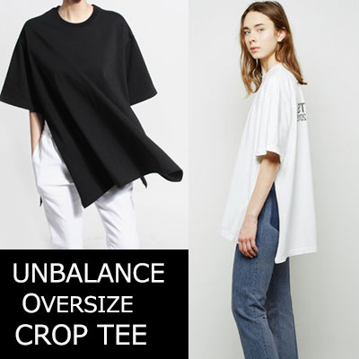 ★Prompt delivery★45%sale★UNISEXTYPE★UNBALANCE OVERSIZE SIDE OPEN TEE-