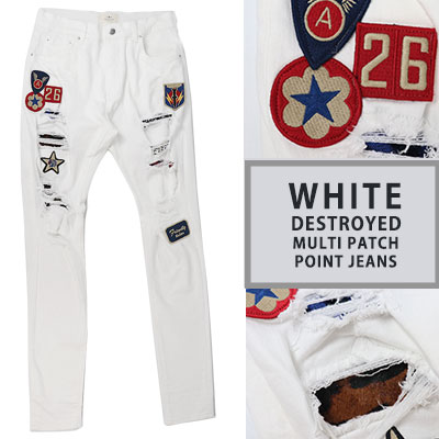 WHITE MULTI PATCH POINT JEANS(4size)